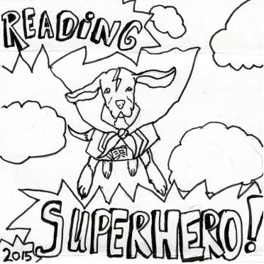 Reading Superhero dog drawing