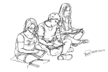 Students sitting doing work